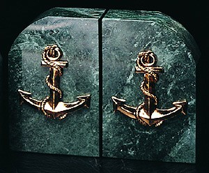 Green Marble & Brass Anchor Bookends