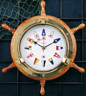 Brass Ship's Wheel Porthole Quartz Clock on Oak w/ Nautical Numbers