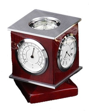 Swivel Clock, Thermometer, Hygrometer & Compass
