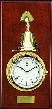 Brass Quartz Striking Clock w/ Bell on Mahogany