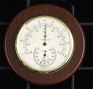 Brass Thermometer/Hygrometer On Cherry Wood