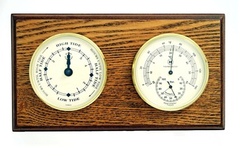 Brass Tide Clock & Thermometer/Hygrometer on Oak