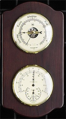 Brass Barometer & Thermometer/Hygrometer on Ash Weather Station