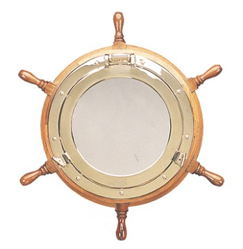 "30"" Ship Wheel Porthole Mirror"
