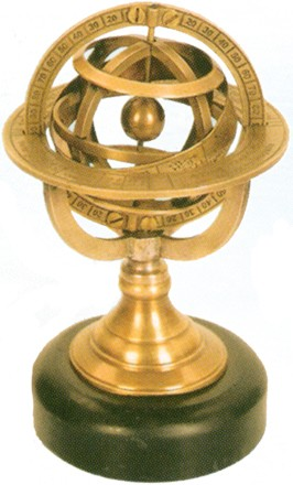 Brass Armillary Sphere w/ Stone Base