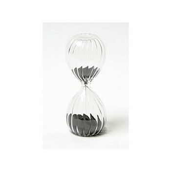 10 Minute Twisted Modern Glass Sand Timer w/ Black Sand
