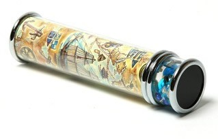 Faux Stone Cylinder Kaleidoscope in Nautical Paper