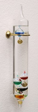 "13"" Hanging Wall Mounted Galileo Thermometer w/ Brass Hook"