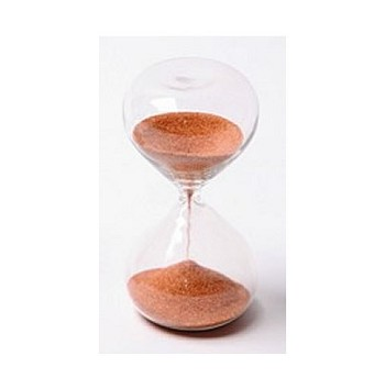5 Minute Modern Glass Sand Timer w/ Rust Color Sand