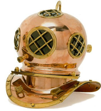 Polished Brass & Copper Diving Helmet
