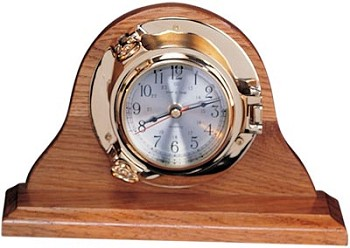 "5.5"" Polished Brass Quartz Porthole Clock on Oak Wood Base"