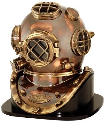 "18"" Antique Finish Brass & Copper Mark V Dive Helmet"