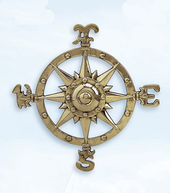 "12"" Aluminum Compass Rose w/ Antique Brass Finish"