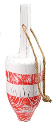 Red & White Distressed Wooden Buoy