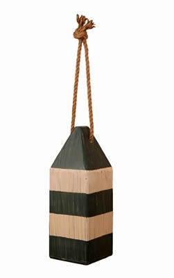 Green & White Distressed Wooden Buoy
