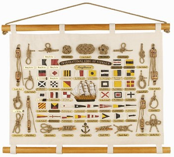 Nautical Flag Canvas Knot Scroll Wall Plaque