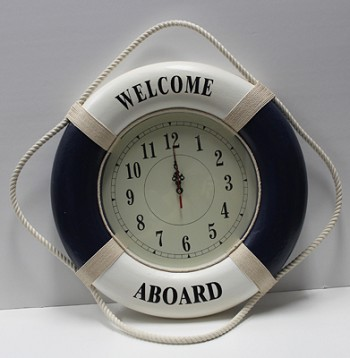 Blue/White Welcome Aboard Life Ring Clock