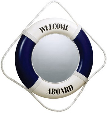 Blue/White Welcome Aboard Life Ring Mirror