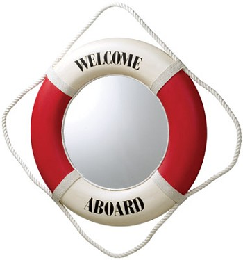 Red/White Welcome Aboard Life Ring Mirror