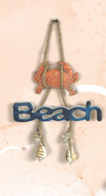 Beach Sign w/ Crab on Rope Wall Plaque