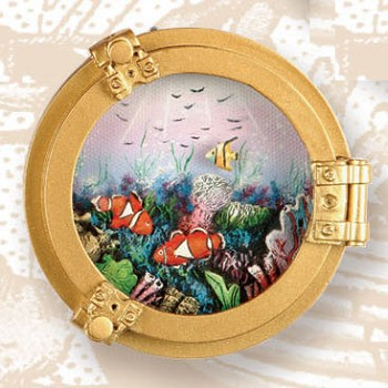 "3.5"" Polystone Porthole w/ Fish Oil Painting"