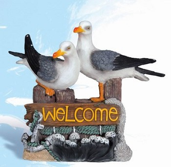 Seagulls on Pilings Welcome Sign
