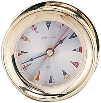 "4.5"" Polished Brass Captain's Quartz Clock w/ Nautical Flag Face"