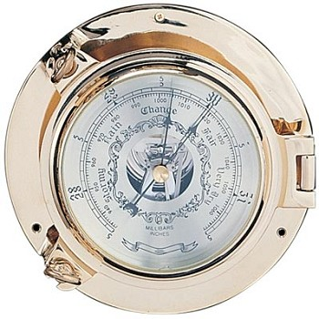 "5.5"" Polished Brass Porthole Barometer"