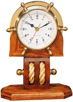 "11"" Solid Brass Ship Wheel Clock w/ Pulley Base"