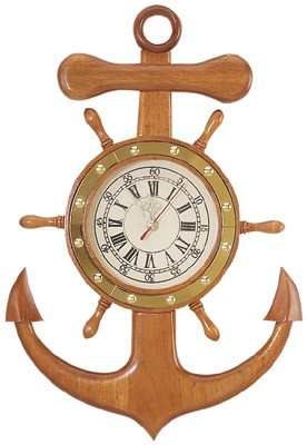 Anchor & Ship Wheel Clock