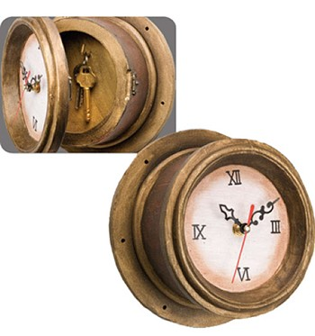 Wooden Captain Clock w/ Key Holder