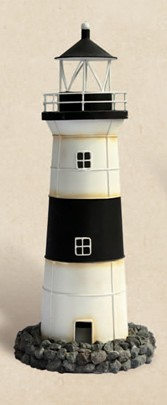 Decorative Rustic Black & White Tin Lighthouse Candle Holder