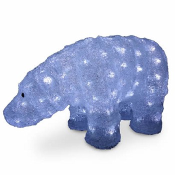 8 In. Acrylic Bear Christmas Decoration with 120 LED Lights