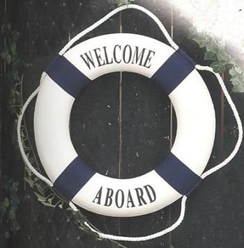 Blue/White Welcome Aboard Life Ring