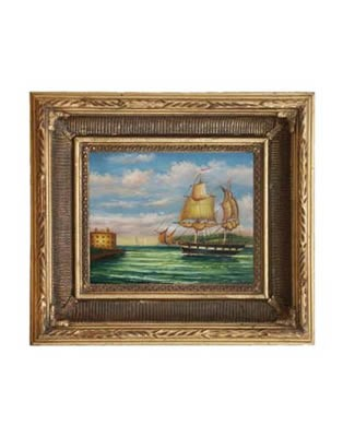 New York Harbor by Chambers Oil on Canvas Painting