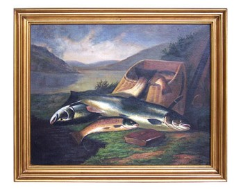 Atlantic Salmon & Brown Trout by Rolfe 1879 Oil on Canvas Painting