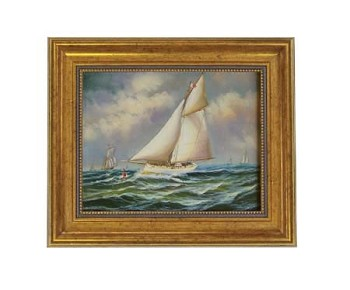 Puritan, America's Cup Oil on Canvas Painting