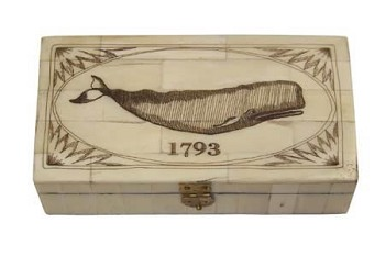Whale 1793 Scrimshaw Bone Box