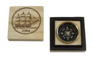 Brass Compass Inlaid in White Bone Tall Ship Box