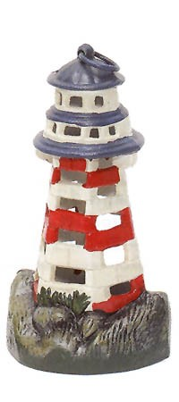 Red/White/Blue Lighthouse Candle Holder