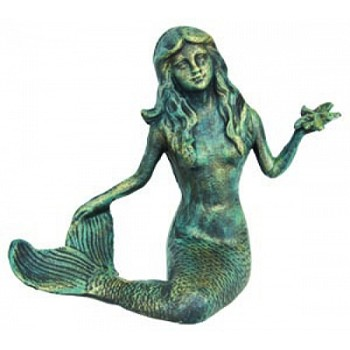 Cast Iron Verdigris Mermaid w/ Starfish
