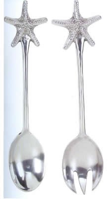 Polished Aluminum Starfish Salad Servers