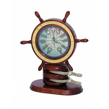 Brass & Wood Ship Wheel & Pulley Knot Clock