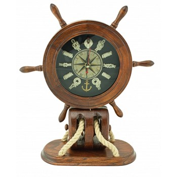 Wood Ship Wheel & Pulley Knot Clock