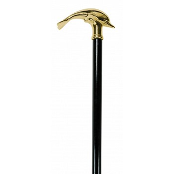 Solid Brass & Wood Dolphin Cane
