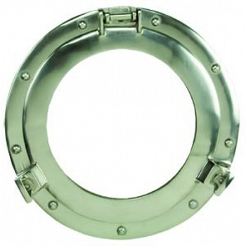 "15"" Aluminum Porthole Mirror w/ Nickel Finish"