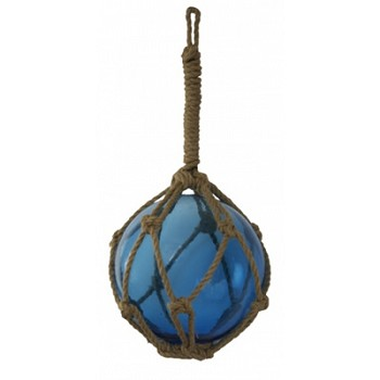 "10"" Blue Glass Buoy Float w/ Rope"