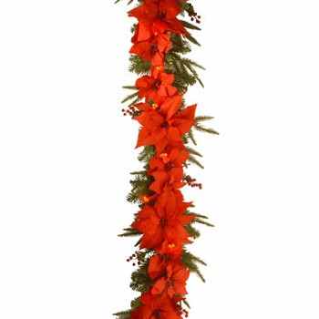6 Ft. Poinsettia Christmas Garland with 36 Red Clusters LED Lights