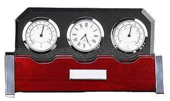 Clock, Thermometer & Hygrometer on Rosewood Weather Station