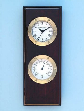 Piano Finish Clock & Thermometer Weather Station